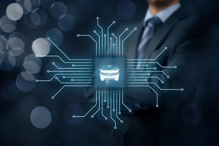 intelligent solutions: Intelligent car, intelligent vehicle and smart cars concept. Symbol of the car and wireless communication. Abstract chip with symbol of the car connected with abstract devices represented by points.