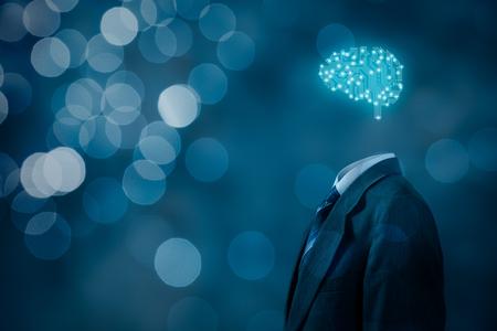 La inteligencia artificial (AI), minería de datos, software de sistema experto, la programación genética, la máquina de aprendizaje, el aprendizaje profundo, redes neuronales y otras tecnologías informáticas modernas conceptos. Cerebro que representa la inteligencia artificial con la boa de circuitos impresos Foto de archivo