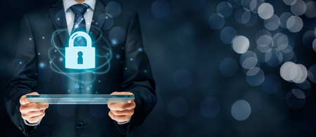 Cybersecurity and information technology security services concept. Login or sign in internet concepts. Banque d'images