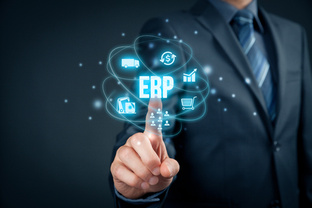 dms: Enterprise resource planning ERP concept. Businessman click on ERP business management software button for collect, store, manage and interpret business data about customers, HR, production, logistics, financials and marketing. Stock Photo