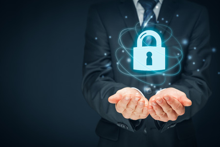 technologist: Security services, cybersecurity and protection concept. Login, sign in concepts. Businessman offer padlock, symbol of security.