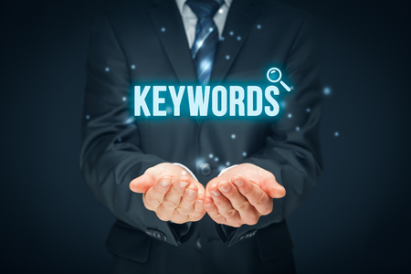keywording: Find keywords - SEO and SEM concept. Marketing specialist offer keywording services.