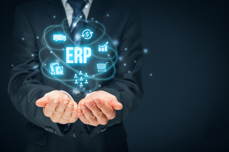 dms: Enterprise resource planning ERP concept. Businessman offer ERP business management software for collect, store, manage and interpret business data about customers, HR, production, logistics, financials and marketing.