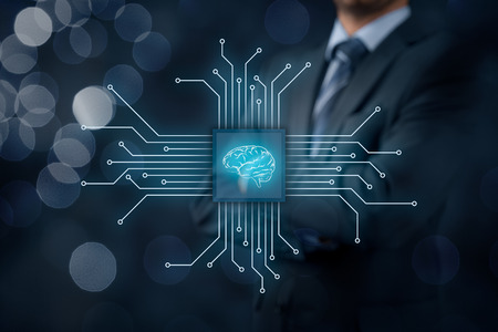 data system: Artificial intelligence (AI), data mining, expert system software, genetic programming, machine learning, neural networks, nanotechnologies and another modern technologies concepts. Stock Photo