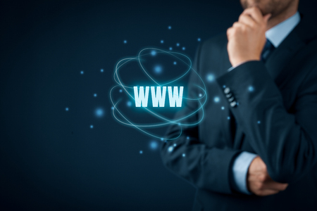 keywording: World wide web (www) - internet websites and SEO concepts. Businessman or programmer think about www.