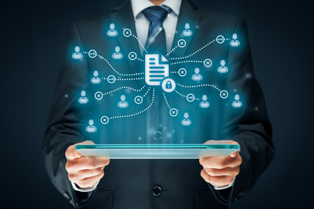 symbolized: Corporate data management system (DMS) and document management system with privacy theme concept. Businessman or programmer with tablet and scheme with protected document connected with users, access rights symbolized by key. Stock Photo