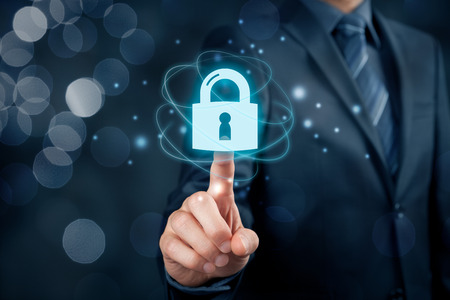 Cybersecurity and information technology security services concept. Login or sign in internet concepts. Archivio Fotografico