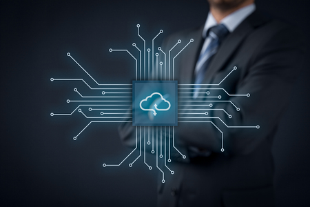 connects: Cloud computing concept - connect devices to cloud. Businessman or information technologist with cloud computing icon. Stock Photo
