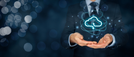 technologist: Cloud computing concept - connect to cloud. Businessman or information technologist with cloud computing icon. Stock Photo