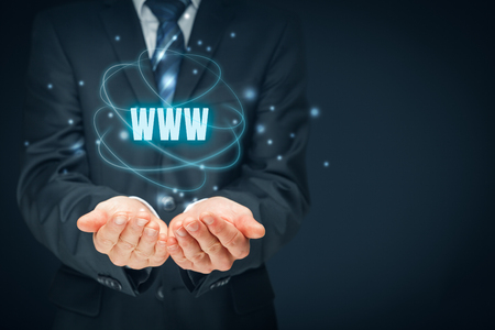 keywording: World wide web (www) - internet websites and SEO concepts. Businessman or programmer offer www services.