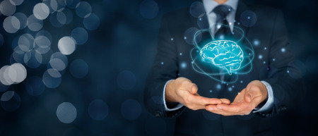 人工知能 (AI)、機械深い学習、創造性、ヘッド ハンター、イノベーションおよび知的財産権。人工知能、創造性、革新性を表す脳と未来的な