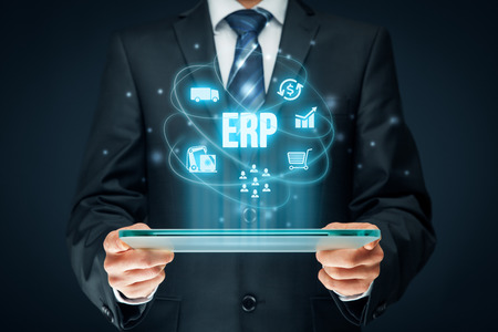 interpret: Enterprise resource planning ERP concept. Businessman work with ERP business management software for collect, store, manage and interpret business data about customers, HR, production, logistics, financials and marketing. Stock Photo