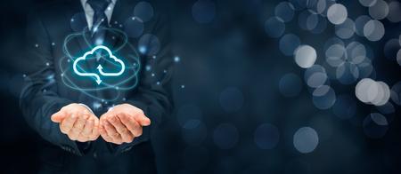 Cloud computing concept - connect to cloud. Businessman or information technologist with cloud computing icon. Foto de archivo