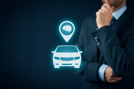 Intelligent car, intelligent vehicle and smart cars concept. Symbol of the car and human brain.