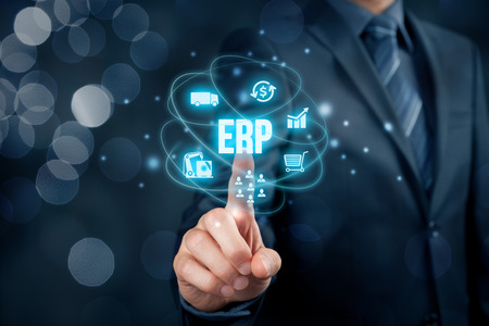 interpret: Enterprise resource planning ERP concept. Businessman click on ERP business management software button for collect, store, manage and interpret business data about customers, HR, production, logistics, financials and marketing. Stock Photo
