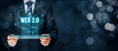 web2: Web 2.0 modern internet concept. Businessman think how to capitalize web 2.0 trend. Stock Photo