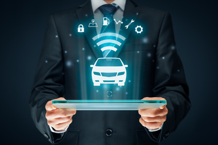 Intelligent car, intelligent vehicle and smart cars concept. Symbol of the car and information via wireless communication about security, parking location, fuel, drive analysis, service and car settings. Stock Photo - 73898771