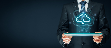 Cloud computing concept - connect to cloud. Businessman or information technologist with cloud computing icon. Stockfoto