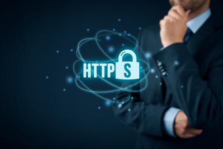 hypertext: HTTPS - secured internet concept. Businessman or programmer think about https.