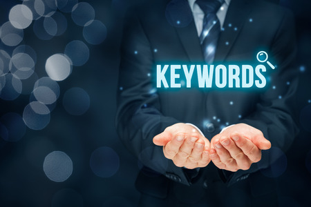 Find keywords - SEO and SEM concept. Marketing specialist offer keywording services.