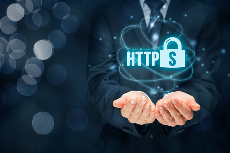 hypertext: HTTPS - secured internet concept. Businessman or programmer offer https technology for www.