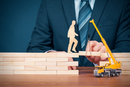Life insurance, customer care, personal development and career build, progress, potential and support (help) concepts. Insurance agent supports client, coach and consultant helps overcome an obstacle, personnel motivate to build career.