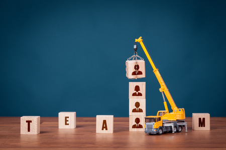 represented: Build team, hire and recruitment concepts. Recruiter represented by crane complete team.