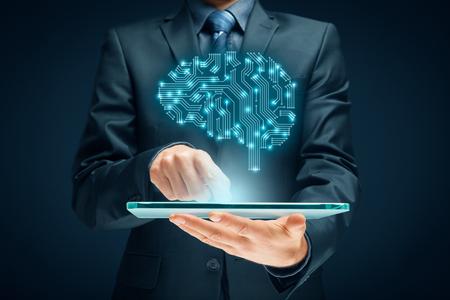 Kunstmatige intelligentie (AI), data mining, expert systeemsoftware, genetische programmering, machine learning, diep leren, neurale netwerken en andere moderne computertechnologie concepten. Brain vertegenwoordigen kunstmatige intelligentie met gedrukte circuit boa