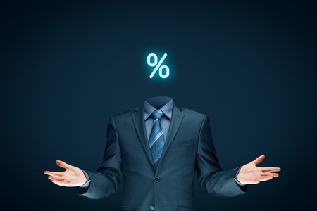 Discount and sale concept represented by percentage sign with down arrow and businessman (or marketer). Stock Photo