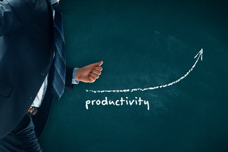 Manager (businessman, coach, leadership) hurry to increase company productivity.
