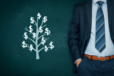 Businessman with hands in passive gesture and tree with dollars (passive income concept).