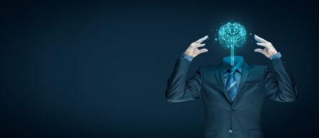 Brain with printed circuit board (PCB) design and businessman representing artificial intelligence (AI), data mining, machine and deep learning, neural networks and another modern computer technologies concepts. Banque d'images