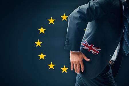 Brexit concept. Businessman (financier, bank employee, CEO, manager) run away (escape) from EU.
