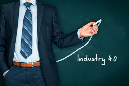 Industry 4.0 heading - title page or background template for business presentation about Industry 4.0. Businessman (manager, teacher, mentor, visionary) and growing graph.