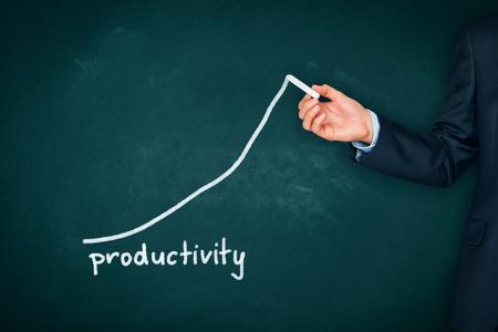 Gestionnaire (homme d'affaires, entraîneur, leadership) plan visant à augmenter la productivité de l'entreprise. Banque d'images