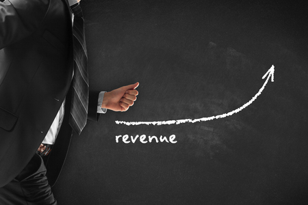 Increase revenue concept. Businessman (manager, coach, leadership) hurry to increase revenue.