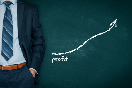 Increase profit concept. Businessman (manager, coach, leadership) plan (predict) profit growth represented by graph.