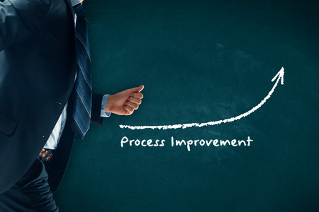 Process improvement concept. Businessman (manager, coach, leadership) hurry to increase process improvement.