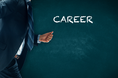 Career acceleration concept, personal development, personal and professional growth. Businessman hurry to improve his career.