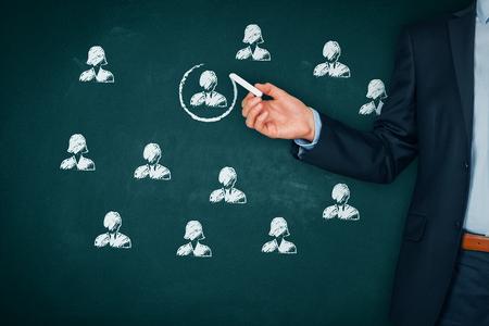 Recruter et embaucher un concept de ressources humaines (RH). Segmentation marketing, ciblage, personnalisation, suivi client individuel (service), gestion de la relation client (CRM) et concepts de leader. Banque d'images - 85766816