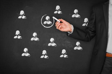 Recruter et embaucher des ressources humaines (RH) concept. Segmentation marketing, le ciblage, la personnalisation, les soins à la clientèle individuelle (service), la gestion de la relation client (CRM) et des concepts de leader. Banque d'images - 86326773