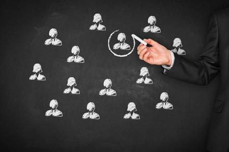 Recruter et embaucher des ressources humaines (RH) concept. Segmentation marketing, le ciblage, la personnalisation, les soins à la clientèle individuelle (service), la gestion de la relation client (CRM) et des concepts de leader. Banque d'images - 86892678