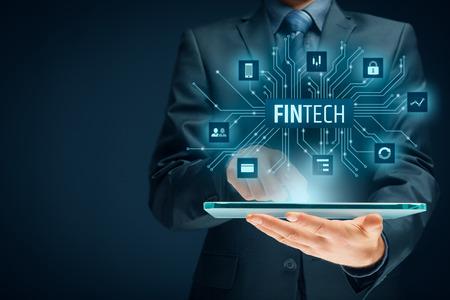 フィンテック (金融技術) の概念。タブレットとフィンテック イラスト ビジネス人。