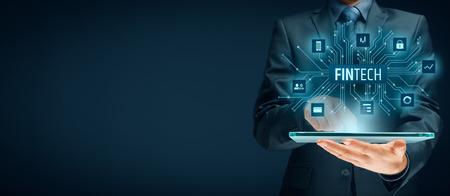 Fintech (금융 기술) 개념입니다. 태블릿 및 fintech 일러스트와 함께 비즈니스 사람입니다.