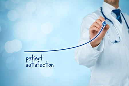 Doctor improve patient satisfaction concept and better access to medical and healthcare supervision. Medical practitioner want to increase number of satisfied clients (patients). Stock fotó