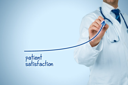 Doctor improve patient satisfaction concept and better access to medical and healthcare supervision. Medical practitioner want to increase number of satisfied clients (patients). Banque d'images