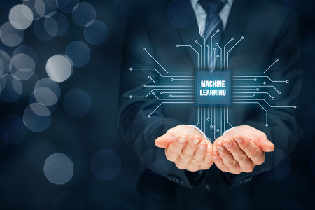 Machine learning data analysis concept. Businessman or programmer with abstract symbol of a chip with text machine learning connected with data represented by points. Banque d'images