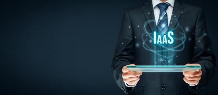 Le concept d'infrastructure en tant que service (IaaS). Modèle d'affaires de technologie de l'information moderne où le matériel est fourni par un fournisseur externe. Banque d'images