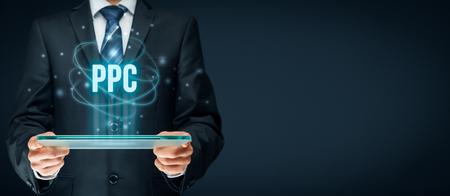 PPC (pay per click, coût par clic) concept de méthode - modèle de publicité sur internet, commerce électronique, micropaiement.