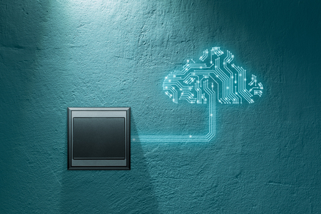 Cloud computing concept - connect devices to cloud. Cloud symbol with printed circuit board (PCB) design representing cloud computing and wall switch which turn on cloud computing connection. Banco de Imagens